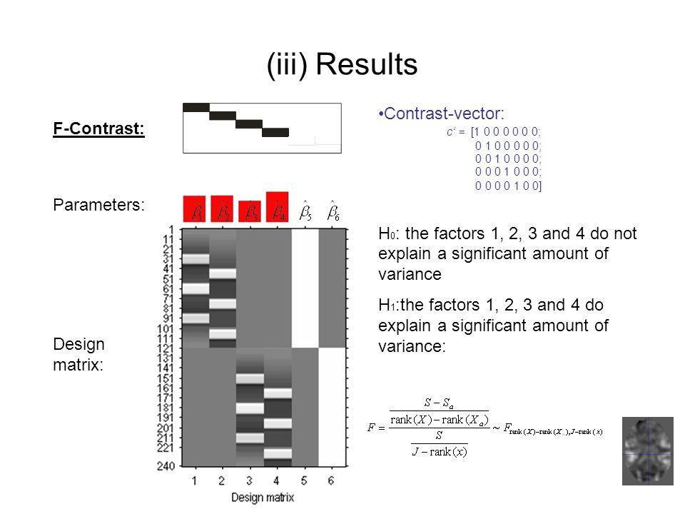 (iii) Results Contrast-vector: c' = [1 0 0 0 0 0 0; F-Contrast: